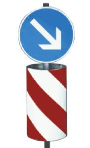 Verkehrsleitsäule, zylindrisch-elliptische Form, oben und unten offen (Ausführung:  <b>Folie Typ 2 (RA2)</b>, rechtsweisend<br> <b> Bestehend aus: </b><br>oben: 1 x VZ 222<br>unten: 2 x VZ 626-20 (Art.Nr.: 34938))
