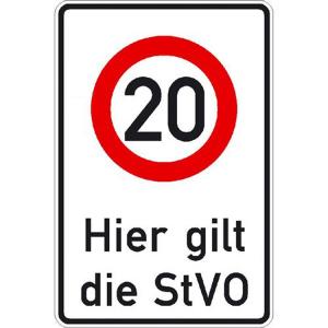 Verkehrsschild, Hier gilt die StVO - zulässige Höchstgeschwindigkeit 20 km / h (Ausführung: Verkehrsschild, Hier gilt die StVO - zulässige Höchstgeschwindigkeit 20 km/h (Art.Nr.: 53.5828))