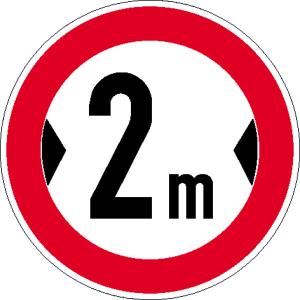 Verkehrsschild, Verbot für Fahrzeuge über eine bestimmte Breite (individuelle Breitenangabe) (Maße Ø : 315 mm (Art.Nr.: 11.5253))