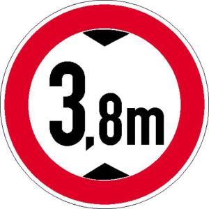 Verkehrsschild, Verbot für Fahrzeuge über eine bestimmte Höhe (individuelle Höhenangabe) (Maße Ø : 315 mm (Art.Nr.: 11.5256))