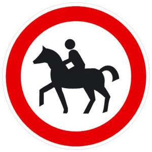 Verkehrsschild, Verbot für Reiter (Maße Ø : 200 mm (Art.Nr.: 11.5657))