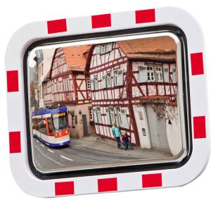 Verkehrsspiegel -DURABEL ECO- aus Edelstahl, eckig (Maße(BxH)/max. Beobachterabstand: 600x450mm/ <b>6m</b> (Art.Nr.: 21903))