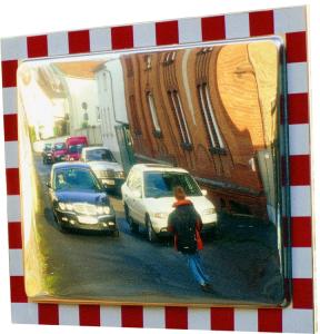 Verkehrsspiegel -DURABEL- aus Edelstahl, eckig (Maße (BxH)/Beobachterabstand: 600x400mm/5m (Art.Nr.: 11348))