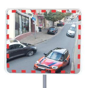 Verkehrsspiegel -EUCRYL® ECO-, rahmenlos, leicht (Maße (BxH)/Max. Beobachterabstand/Gewicht: 600 x 400 mm / ca. 5 m / 4,5 kg (Art.Nr.: 40466))