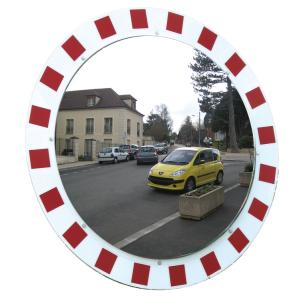 Verkehrsspiegel Vialux®, Edelstahl, mit rot / weißem Rahmen (Durchmesser/Max. Beobachterabstand/Gewicht: Ø 800 mm/ca. 20 m/26 kg (Art.Nr.: 36347))