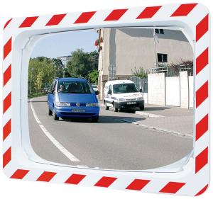 Verkehrsspiegel Vialux®, Edelstahl, mit rot / weißem Rahmen (Maße (BxH)/Max. Beobachterabstand/Gewicht: 600x400mm/ca. 9m/18 kg (Art.Nr.: 32839))