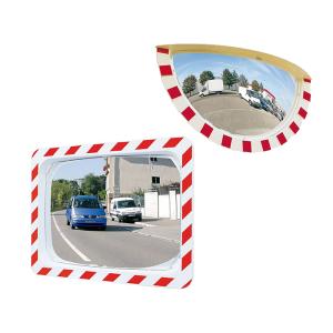 Verkehrsspiegel Vialux® mit rot / weißem Rahmen, eckig oder halbrund (Maße (BxH)/Material/Sichtprüfung/Max. Beobachterabstand/Gewicht:  <b>600x400mm</b>/Polymir®<br>für 2 Blickrichtungen/ca.9m/11kg<br> <b>3 Jahre Garantie</b><b