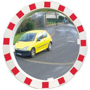 Verkehrsspiegel Vialux® mit rot / weißem Rahmen, rund (Durchmesser/Material/Max. Beobachterabstand/Gewicht:  <b>Ø600mm</b>/Miroirs® P.A.S.<br>ca. 11m/12 kg/ <b>5 Jahre Garantie</b><br>auf die Funktion (Spiegelglas,<br>Rahmen,Halterung)