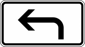 Verkehrszeichen 1000-11 StVO, Vorankündigung, linksweisend (Maße/Folie/Form:  <b>231x420mm</b>/RA1/Flachform 2mm (Art.Nr.: 1000-11-111))