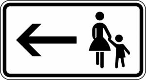 Verkehrszeichen 1000-12 StVO - Fußgänger Gehweg links gegenüber benutzen (Maße/Folie/Form:  <b>231x420 mm</b> / RA1 / Flachform 2 mm (Art.Nr.: 1000-12-111))