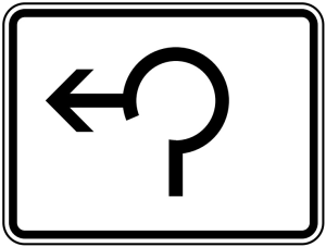 Verkehrszeichen 1000-13 StVO, Umleitungsbeschilderung Dreiviertelkreis (Maße/Folie/Form:  <b>315 x 420mm</b>/RA1/Flachform 2mm (Art.Nr.: 1000-13-111))