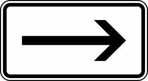 Verkehrszeichen 1000-20 StVO, Rechtsweisend (Maße/Folie/Form:  <b>231x420mm</b>/RA1/Flachform 2mm (Art.Nr.: 1000-20-111))
