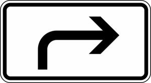 Verkehrszeichen 1000-21 StVO, Vorankündigung, rechtsweisend (Maße/Folie/Form:  <b>231x420mm</b>/RA1/Flachform 2mm (Art.Nr.: 1000-21-111))