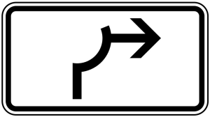 Verkehrszeichen 1000-23 StVO, Umleitungsbeschilderung Viertelkreis (Maße/Folie/Form:  <b>231x420mm</b>/RA1/Flachform 2mm (Art.Nr.: 1000-23-111))