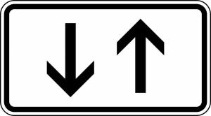 Verkehrszeichen 1000-31 StVO, Verkehr in beide Richtungen, zwei gegengerichtete Pfeile (Maße/Folie/Form:  <b>231x420mm</b>/RA1/Flachform 2mm (Art.Nr.: 1000-31-111))