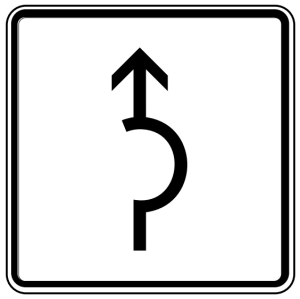 Verkehrszeichen 1000-34 StVO, Umleitungsbeschilderung Halbkreis (Maße/Folie/Form:  <b>420x420mm</b>/RA1/Flachform 2mm (Art.Nr.: 1000-34-111))