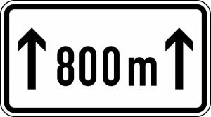 Verkehrszeichen 1001-30 StVO, Länge einer Verbotsstrecke auf ... m (Maße/Folie/Form:  <b>231x420mm</b>/RA1/Flachform 2mm (Art.Nr.: 1001-30-111))
