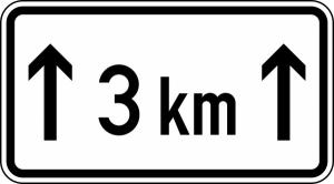 Verkehrszeichen 1001-31 StVO, Länge einer Verbotsstrecke auf ... km (Maße/Folie/Form:  <b>231x420mm</b>/RA1/Flachform 2mm (Art.Nr.: 1001-31-111))