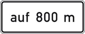 Verkehrszeichen 1001-34 StVO, auf ... m, in Verbindung mit Fahrstreifentafeln VZ 521 ff. (Folie/Form:  <b>RA1</b>/Flachform 2mm (Art.Nr.: 1001-34-111))