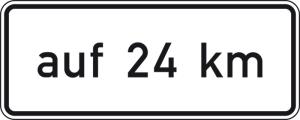 Verkehrszeichen 1001-35 StVO, auf ... km, in Verbindung mit Fahrstreifentafeln VZ 521 ff. (Folie/Form:  <b>RA1</b>/Flachform 2mm (Art.Nr.: 1001-35-111))