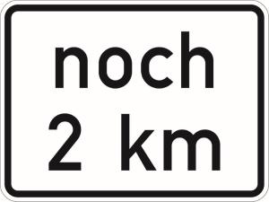 Verkehrszeichen 1001-53 StVO, noch ... km (gemäß VwV-StVO in Tunneln - GVZ-Nr.) (Maße/Folie/Form:  <b>315x420mm</b>/RA1/Flachform 2mm (Art.Nr.: 1001-33-111))