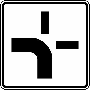 Verkehrszeichen 1002-10 StVO, Verlauf der Vorfahrtstraße (Maße/Folie/Form:  <b>420x420mm</b>/RA1/Flachform 2mm (Art.Nr.: 1002-10-111))