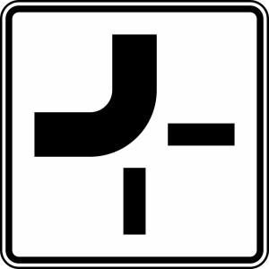Verkehrszeichen 1002-11 StVO, Verlauf der Vorfahrtstraße (Maße/Folie/Form:  <b>420x420mm</b>/RA1/Flachform 2mm (Art.Nr.: 1002-11-111))
