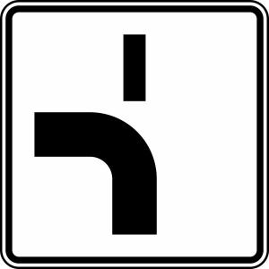 Verkehrszeichen 1002-12 StVO, Verlauf der Vorfahrtstraße (Maße/Folie/Form:  <b>420x420mm</b>/RA1/Flachform 2mm (Art.Nr.: 1002-12-111))
