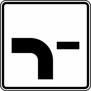 Verkehrszeichen 1002-13 StVO, Verlauf der Vorfahrtstraße (Maße/Folie/Form:  <b>420x420mm</b>/RA1/Flachform 2mm (Art.Nr.: 1002-13-111))