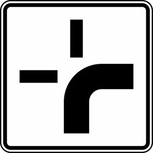 Verkehrszeichen 1002-20 StVO, Verlauf der Vorfahrtstraße (Maße/Folie/Form:  <b>420x420mm</b>/RA1/Flachform 2mm (Art.Nr.: 1002-20-111))
