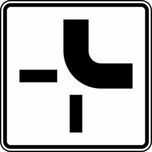 Verkehrszeichen 1002-21 StVO, Verlauf der Vorfahrtstraße (Maße/Folie/Form:  <b>420x420mm</b>/RA1/Flachform 2mm (Art.Nr.: 1002-21-111))