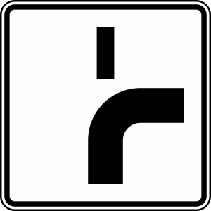 Verkehrszeichen 1002-22 StVO, Verlauf der Vorfahrtstraße (Maße/Folie/Form:  <b>420x420mm</b>/RA1/Flachform 2mm (Art.Nr.: 1002-22-111))