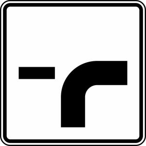 Verkehrszeichen 1002-23 StVO, Verlauf der Vorfahrtstraße (Maße/Folie/Form:  <b>420x420mm</b>/RA1/Flachform 2mm (Art.Nr.: 1002-23-111))