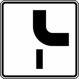 Verkehrszeichen 1002-24 StVO, Verlauf der Vorfahrtstraße (Maße/Folie/Form:  <b>420x420mm</b>/RA1/Flachform 2mm (Art.Nr.: 1002-24-111))