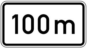 Verkehrszeichen 1004-30 StVO, Entfernungsangabe in m (nur volle 50er) (Maße/Folie/Form:  <b>231x420mm</b>/RA1/Flachform 2mm (Art.Nr.: 1004-30-111))