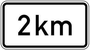 Verkehrszeichen 1004-31 StVO, Entfernungsangabe in... km (Maße/Folie/Form:  <b>231x420mm</b>/RA1/Flachform 2mm (Art.Nr.: 1004-31-111))