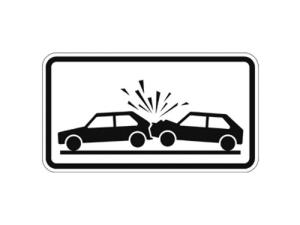 Verkehrszeichen 1006-51 StVO, Unfallgefahr (Maße/Folie/Form:  <b>231x420mm</b>/RA1/Flachform 2mm (Art.Nr.: 1006-31-111))