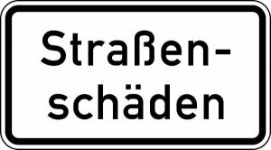 Verkehrszeichen 1007-34 StVO, Straßenschäden (Maße/Folie/Form:  <b>231x420mm</b>/RA1/Flachform 2mm (Art.Nr.: 1007-34-111))