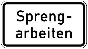 Verkehrszeichen 1007-36 StVO, Sprengarbeiten (Maße/Folie/Form:  <b>231x420mm</b>/RA1/Flachform 2mm (Art.Nr.: 1007-36-111))