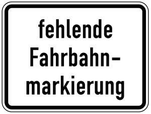 Verkehrszeichen 1007-39 StVO, fehlende Fahrbahnmarkierung (Maße/Folie/Form:  <b>315x420mm</b>/RA1/Flachform 2mm (Art.Nr.: 1007-39-111))