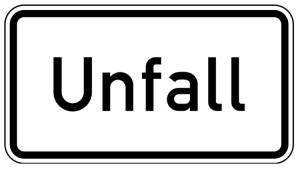 Verkehrszeichen 1007-50 StVO, Unfall (Maße/Folie/Form:  <b>231x420mm</b>/RA1/Flachform 2mm (Art.Nr.: 1007-50-111))