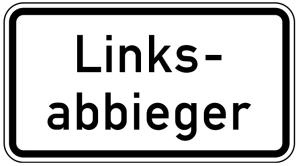 Verkehrszeichen 1007-54 StVO, Linksabbieger (Maße/Folie/Form:  <b>231x420mm</b>/RA1/Flachform 2mm (Art.Nr.: 1007-54-111))