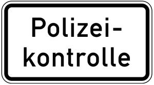 Verkehrszeichen 1007-58 StVO, Polizeikontrolle (Maße/Folie/Form:  <b>231x420mm</b>/RA1/Flachform 2mm (Art.Nr.: 1007-58-111))
