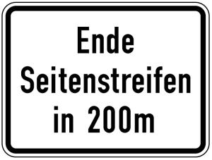 Verkehrszeichen 1007-59 StVO, Ende Seitenstreifen in 200 m (Maße/Folie/Form:  <b>450x600mm</b>/RA1/Flachform 2mm (Art.Nr.: 1007-59-111))