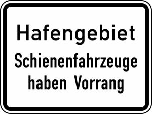 Verkehrszeichen 1008-33 StVO, Hafengebiet Schienenfahrzeuge haben Vorrang (Folie/Form: RA1/Flachform 2mm (Art.Nr.: 1008-33-211))