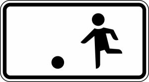 Verkehrszeichen 1010-10 StVO, Kinderspielen auf der Fahrbahn und dem Seitenstreifen erlaubt (Maße/Folie/Form:  <b>231x420mm</b>/RA1/Flachform 2mm (Art.Nr.: 1010-10-111))