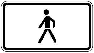 Verkehrszeichen 1010-53 StVO, Nur Fußgänger (Maße/Folie/Form:  <b>231x420mm</b>/RA1/Flachform 2mm (Art.Nr.: 1010-53-111))