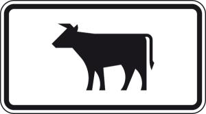 Verkehrszeichen 1010-55 StVO, Viehtrieb (Maße/Folie/Form:  <b>231x420mm</b>/RA1/Flachform 2mm (Art.Nr.: 1010-55-111))