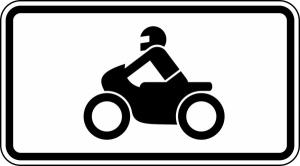 Verkehrszeichen 1010-62 StVO, Nur Krafträder, auch mit... (Maße/Folie/Form:  <b>231x420mm</b>/RA1/Flachform 2mm (Art.Nr.: 1010-62-111))