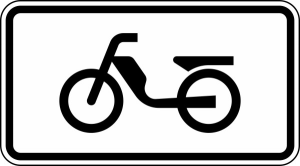 Verkehrszeichen 1010-63 StVO, Mofas (Maße/Folie/Form:  <b>231x420mm</b>/RA1/Flachform 2mm (Art.Nr.: 1010-63-111))